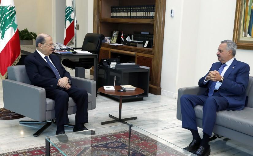 President Michel Aoun meets MP Talal Arslan.