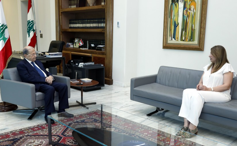 President Michel Aoun meets Minister Marie-Claude Najm.