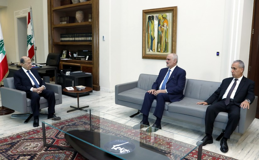 President Michel Aoun meets with MP's Ali Hassan Khalil and Muhammad Khawaja .