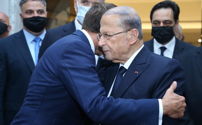 President Michel Aoun Receiving French President Emmanuel Macron at Baabda Palace.