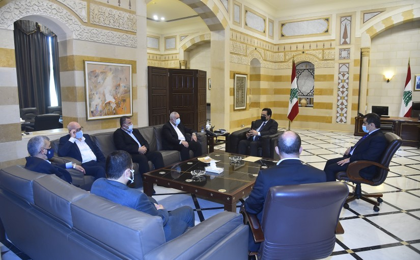 Pr Minister Hassan Diab meets a Palestinian Delegation