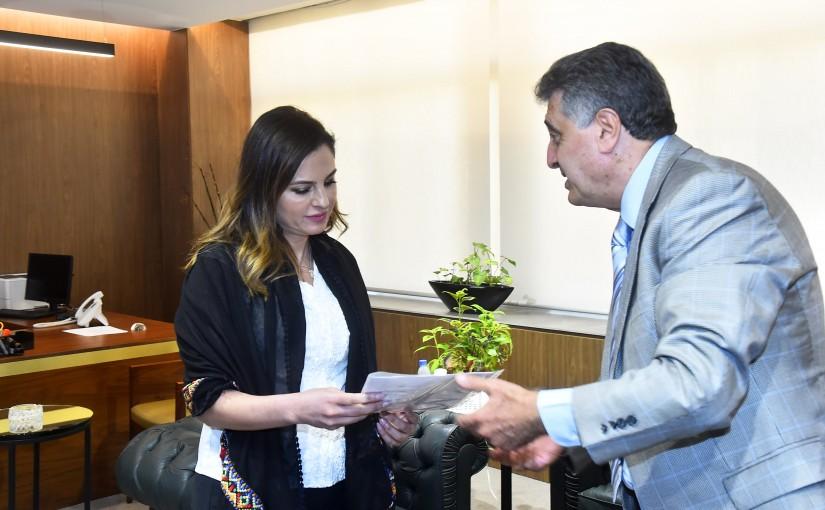 Minister Manal Abdel Samad meets Mr Hicham Hemdan