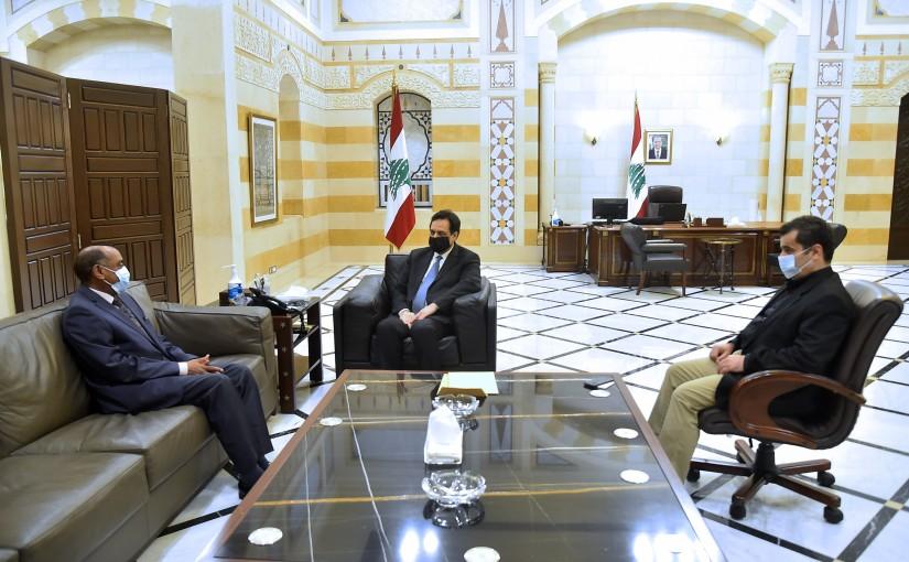 Pr Minister Hassan Diab meets Sudan Ambassador