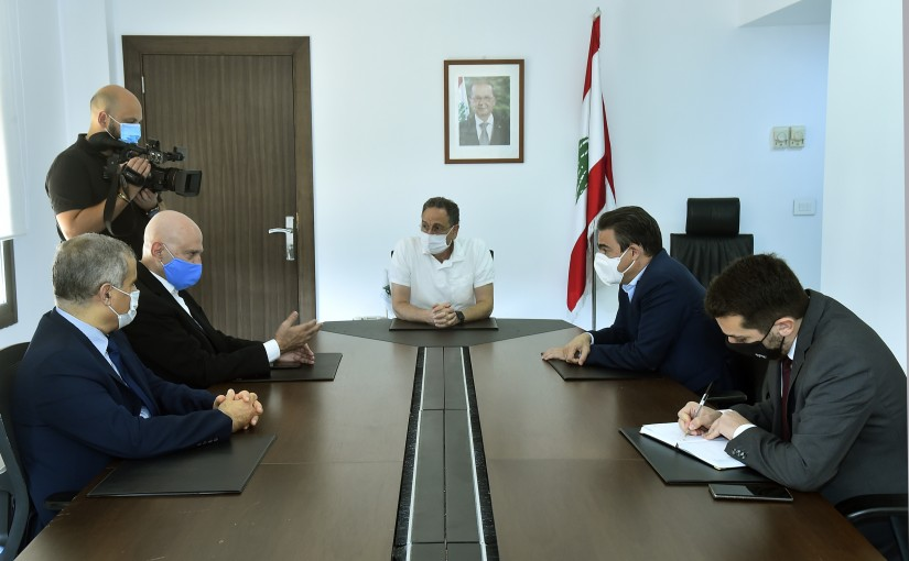 Minister Raoul Nehmeh meets Minister Nicolas Sehnaoui with a Delegation
