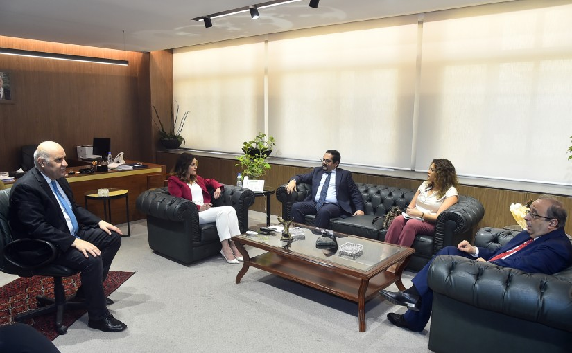 Minister Manal Abdel Samad meets Former MP Ghassan Mghaiber with a Delegation