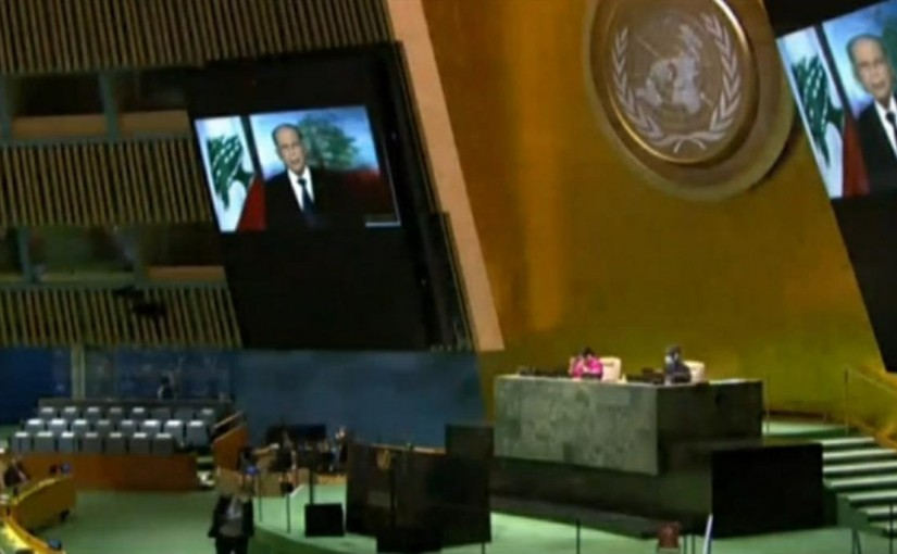 President Michel Aoun speech in front of the UN General Assembly