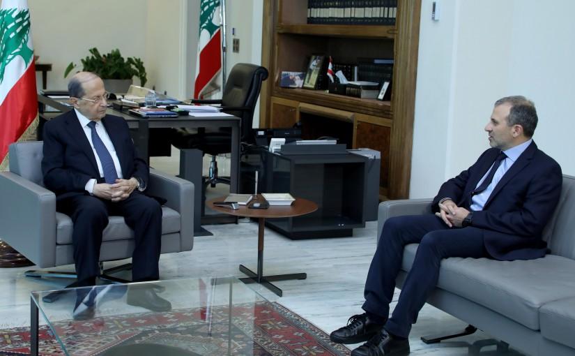 President Michel Aoun meets MP Gebran Bassil