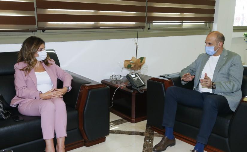 Minister Hassan Hamad meets Minister Lamya Yamin