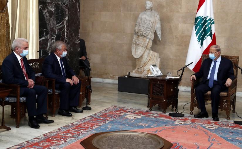 President Michel Aoun meets Colonel General Mikhail Mizintsev with a delegation.