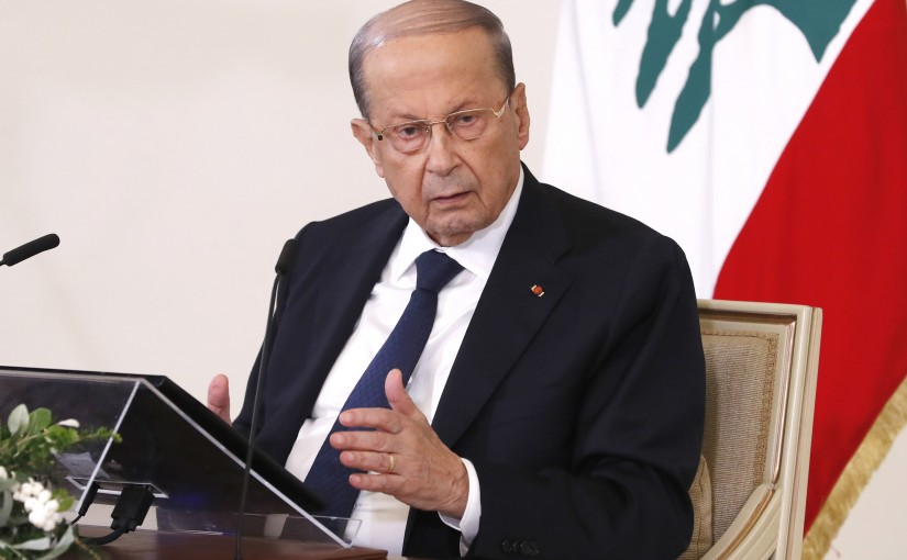 President Michel Aoun press conference at Baabda Presidential Palace.