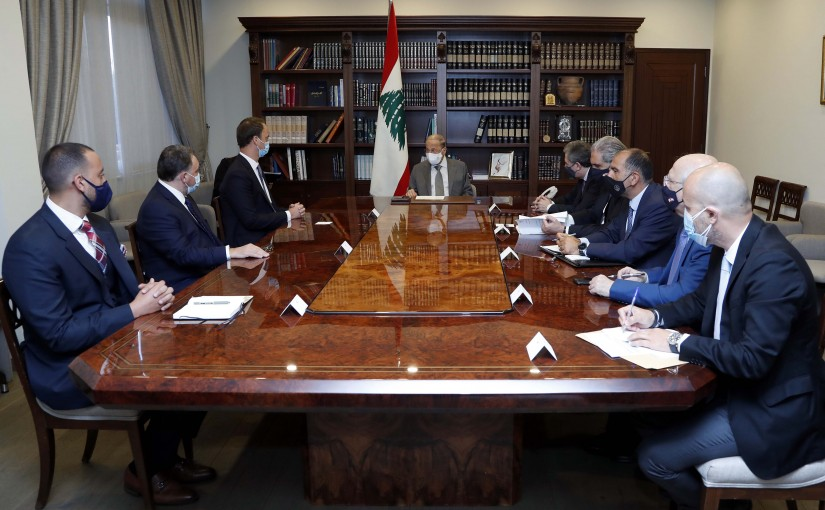 President Michel Aoun meets a delegation of Alvarez and Marsal.