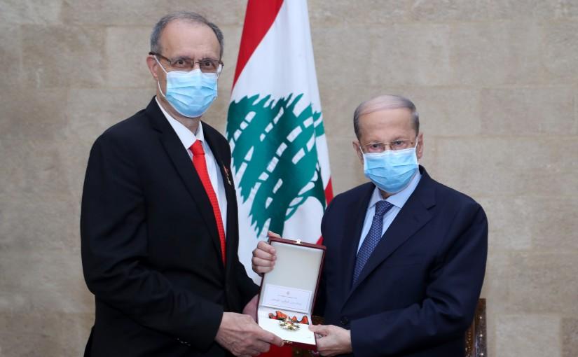 President Michel Aoun meets Dr Naji Said Al Saghir with a delegation.