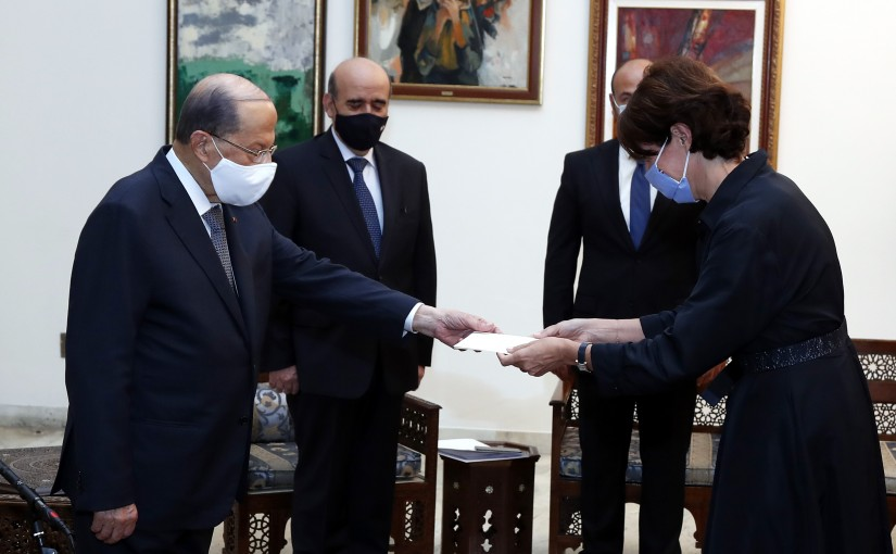 President Michel Aoun receives the Credentials of the Ambassador of the French Anne GRILLO.