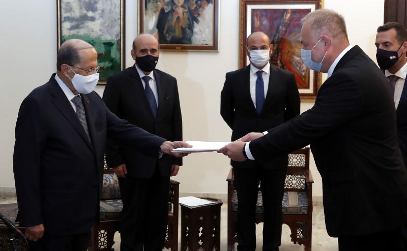 President Michel Aoun receives the Credentials of the Ambassador of the  Federal Republic of Russian Rudakov Alexander NIKOLAVICH.