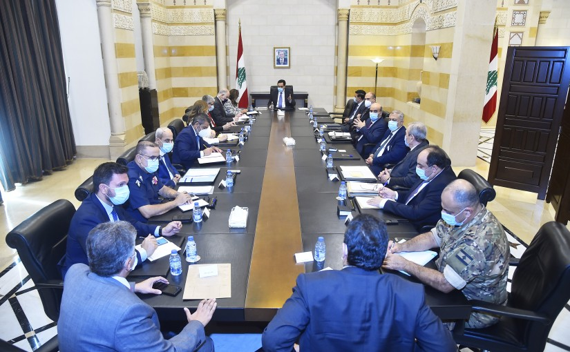 Pr Minister Hassan Diab Heading a Meeting for Beirut