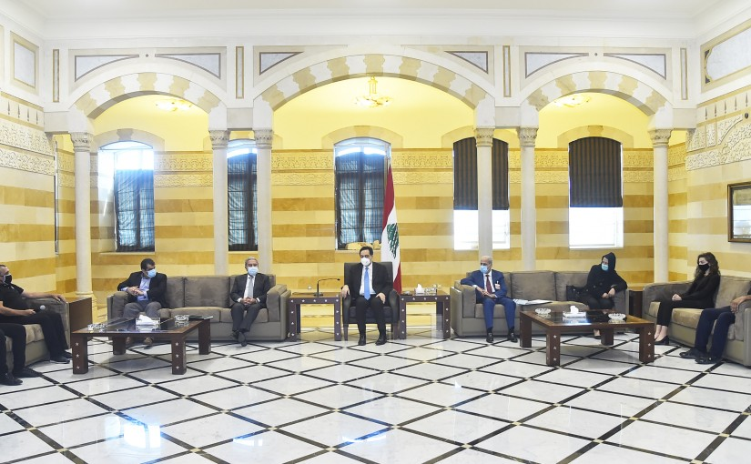 Pr Minister Hassan Diab meets a Delegation of the Families of Beirut Port Martyrs Committee,