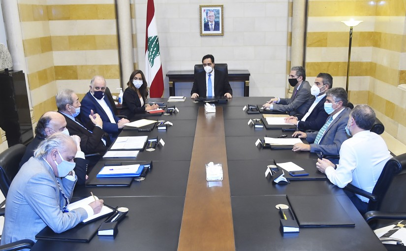 Pr Minister Hassan Diab meets Heading a Meeting for Landfill Burj Hamoud