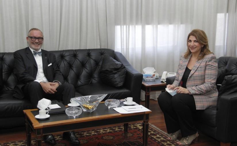 Minister Marie Claude Najem meets Belgium Ambassador