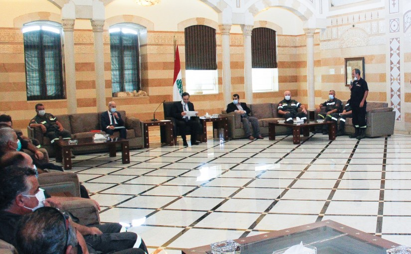 Pr Minister Hassan Diab meets a Delegation from Civil Defence