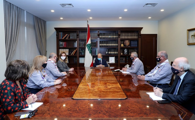 President Michel Aoun meets Minister Vartine Ohanian with a  Scout Union delegation.