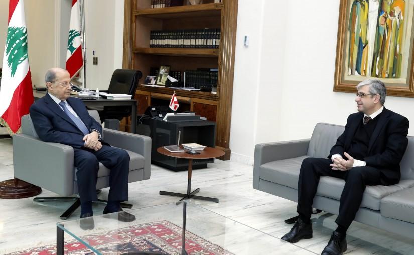 President Michel Aoun meets Minister of education Tarek Majzoub.
