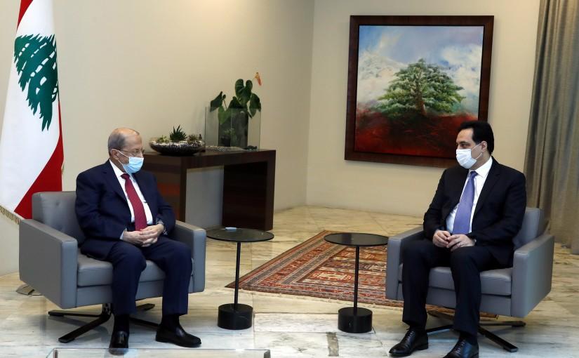 President Michel Aoun meets Prime Minister Hassan Diab.