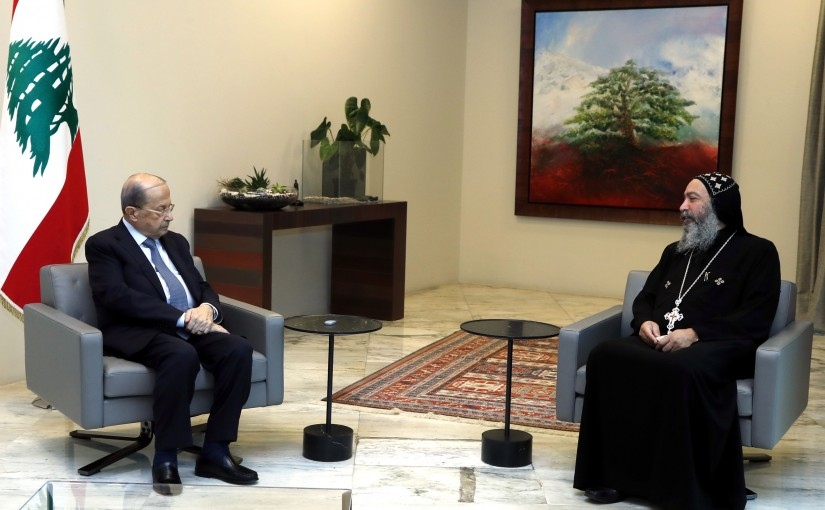 President Michel Aoun received the new head of the Coptic Orthodox community in Lebanon and Syria. The monk Father Timon Al-Syriani.