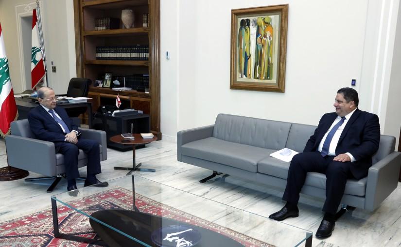 President Michel Aoun meets  Sheikh Joanne Habish, Mayor of Jounieh.
