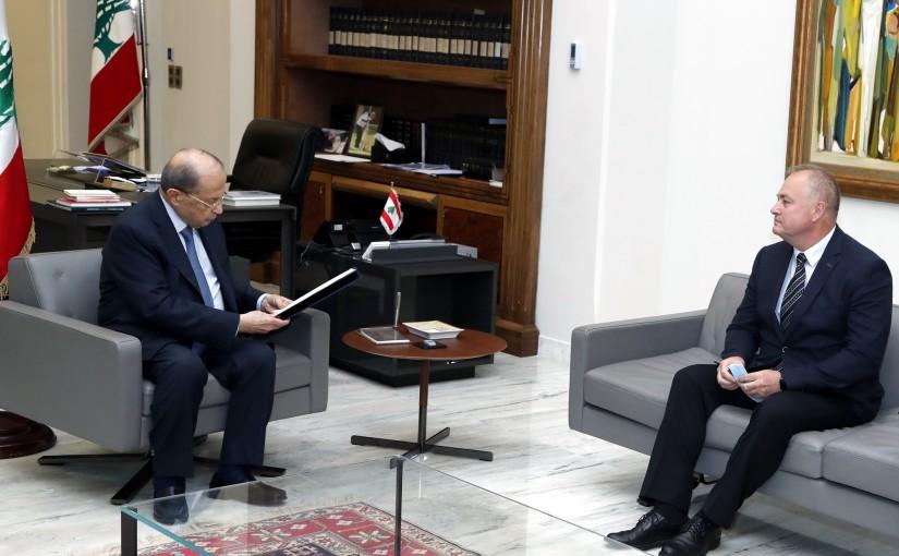 President Michel Aoun meets Russian Ambassador  RUDAKOV Alexander Nikolaevich.