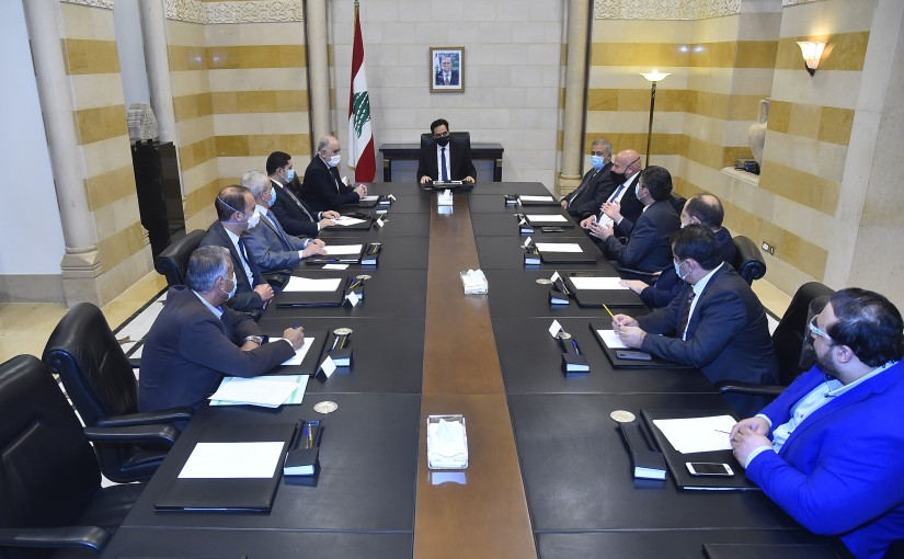 Pr Minister Hassan Diab meets Minister Mouhamad Fehmi with a Delegation