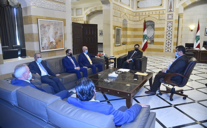 Pr Minister Hassan Diab meets a Delegation from Ghathering Bloc MPs