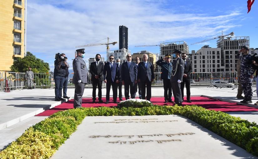 MP Nazih Nazem Put a wreath on the Late Pr Minister Rafic Hariri