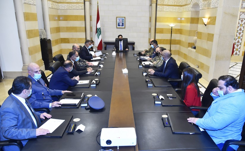 Pr Minister Hassan Diab Heading a Security Meeting