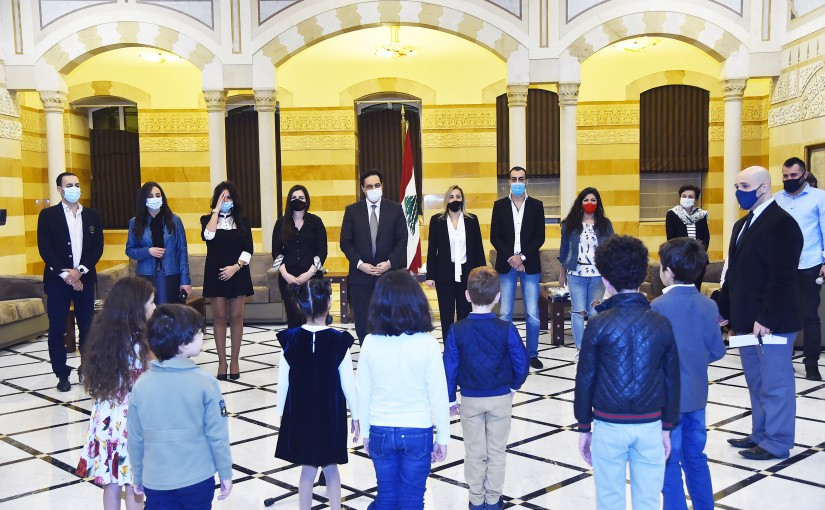 Pr Minister Hassan Diab meets a Delegation from Lebanese Children