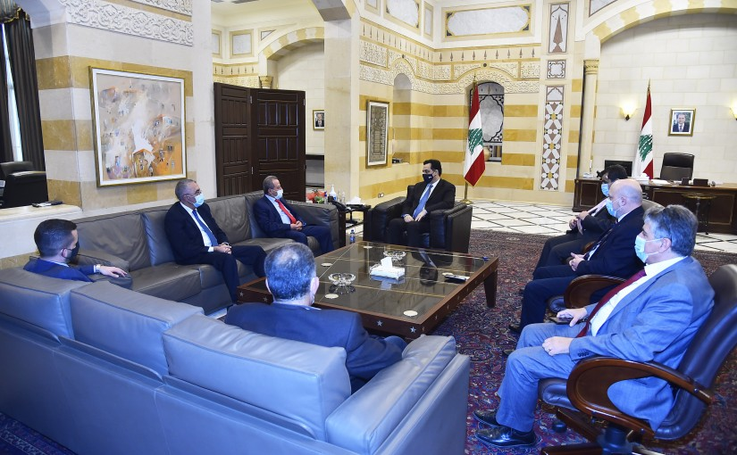 Pr Minister Hassan Diab meets Mr George Dib with a Delegation