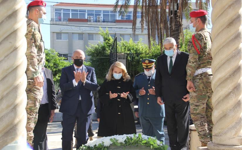 MP Fouad Makhzoumi Put a wreath on the Late Pr Minister Riad Soleh