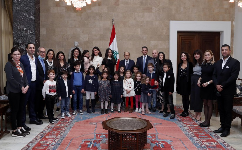 """President Michel Aoun meets Ms. Rita Abboud with a delegation,""""Bebes Calins""""."""