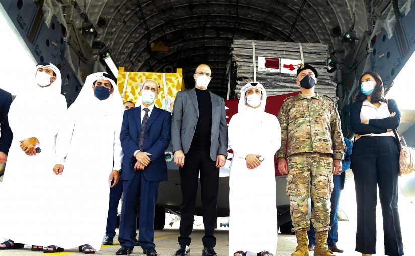 Minister Hassan Hamad Receiving Medical Aid from Qatar