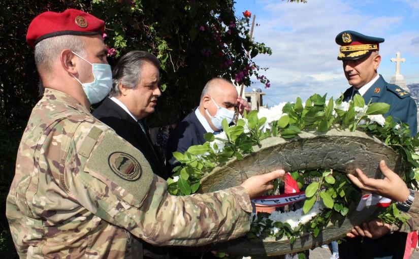 MP Roger Azar put a wreath on the Late