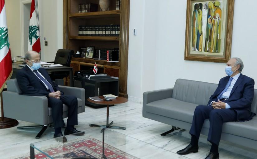 President Michel Aoun meets Former Minister Mohammad Safadi.