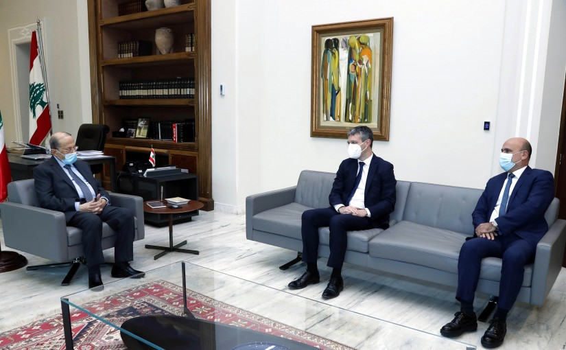 President Michel Aoun meets the Chairman of the French-Lebanese Parliamentary Friendship Committee in the French Parliament, Representative Loïe Kervran.
