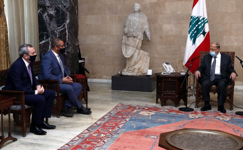 President Michel Aoun meets Mr. James Cleverly (Minister for Middle East and North Africa) .