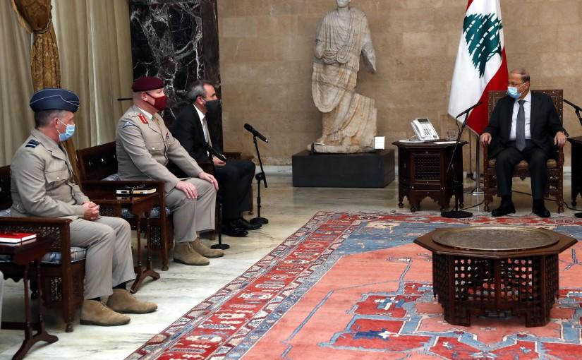 President Michel Aoun meets British Defense adviser to the Middle East   Lt. General  Sir John Lorimer, Ambassador Chris Rampling.