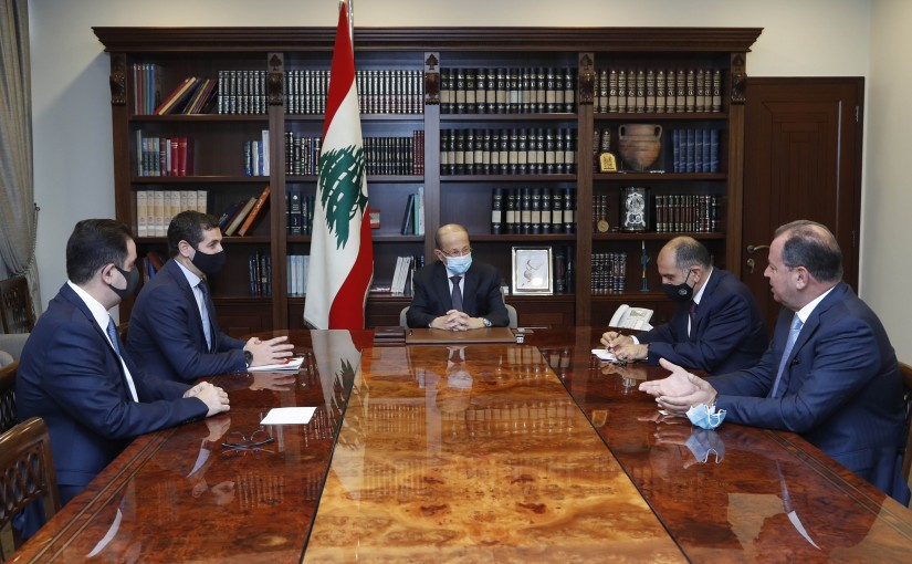 President Michel Aoun MP Deputy Eddy Maalouf, and Mr. Jean Beyrouthy and Mr.Tony Al-Rami.