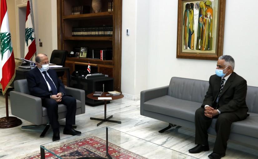 President Michel Aoun meets Dr. Hamad Bin Saif al-Hammami.