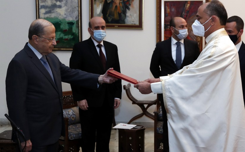 President Michel Aoun receives the credentials of the Ambassador of Tunisia, Ambassador Bouraoui IMAM.