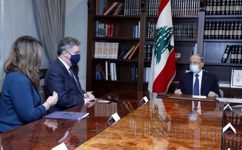 President Michel Aoun meets Ambassador John P. Desrocher.