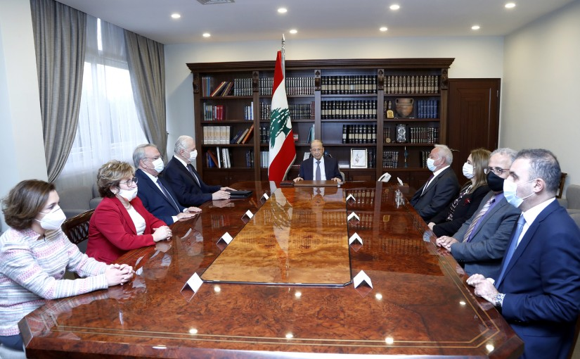 President Michel Aoun meets the President of the Supreme Judicial Council, Judge Suhail Abboud, and members of the Council.
