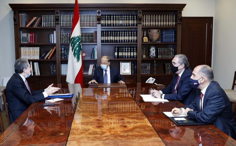 President Michel Aoun meets Minister of Finance Ghazi Wazni.