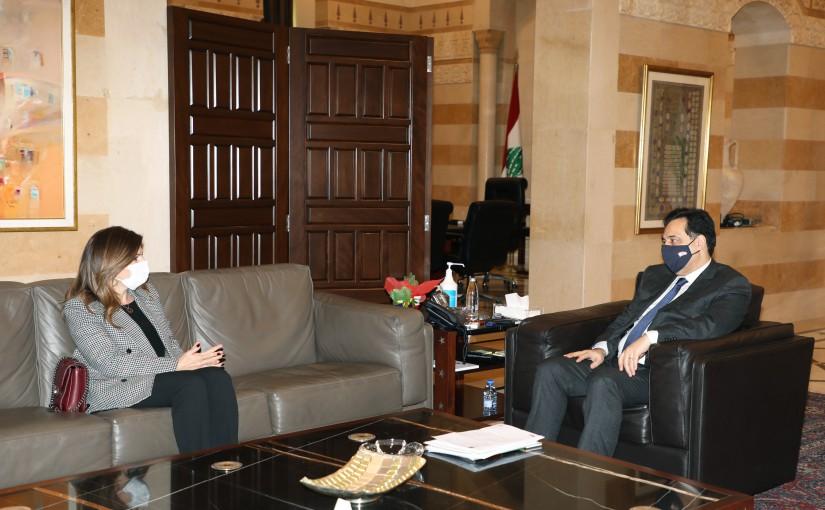 Pr Minister Hassan Diab meets Minister Lamya Yamine